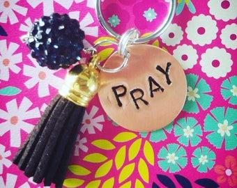 PRAY Keychain, prayer reminder, christian keychain, bible verse keychain, pay jewelry, christian jewelry