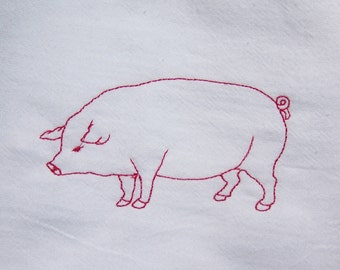 Redwork embroidered pink pig on a white flour sack towel