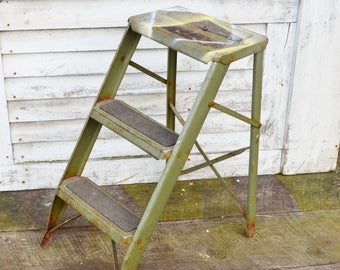 "Vintage Green Metal Step Ladder 24"" Olive Military Avocado Green Paint Spots Rusty Industrial Display Shelf Folding Stool"