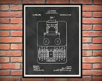 Patent 1915 Stenographic Machine - Art Print - Court Reporter Wall Art - Stenographer Art - Stenotype Machine -Secretary Art -Court Room Art
