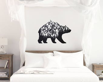 Bear Mountain Silhouette Vinyl Wall Decal, Vinyl Wall Decal, Large Wall Decal, Oversized Wall decal, Bear decal