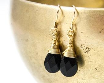 Onyx Earrings, Black Onyx Earrings, Dainty Onyx Earrings, Black Earrings, Dangle Earrings, Drop Earrings, Gift for Her, Valentines Day