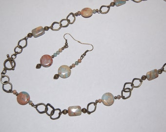 Vintaj light blue and beige Necklace and Earrings (with natural stones)