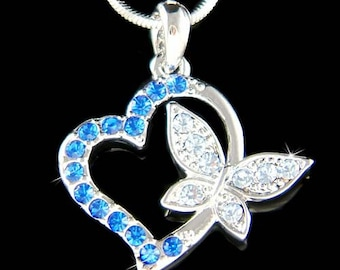 Swarovski Crystal Royal Blue Love HEART BUTTERFLY Lover charm Pendant Chain Necklace Wife Jewelry Best Friend BFF Christmas Gift New Cute