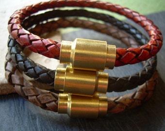 Braided Leather Bracelet with Brass Magnetic Clasp, Leather Bracelets, Mens Bracelets Leather, Mens Jewelry, Braided Bracelet, Industrial