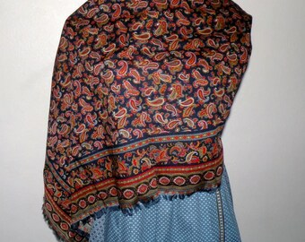Paisley Print 40 x 41 Cotton/wool blend Shawl/Scarf from Austria