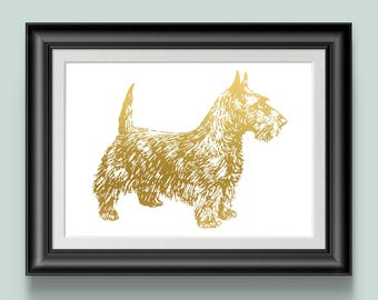Terrier Dog Print, Dog Lover Gift, Puppy Gold Foil Art Print, Pet Art, Wall Decor, Scottish Terrier