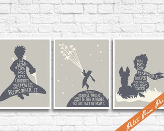 The Little Prince - Imagination Quotes - Set of 3 Art Prints (Unframed) (Featured in River Rock on Forest Mist and Soft Cream)
