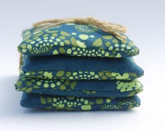 Sachet - Organic Lavender - Organic Cotton - Emerald Green - Set of Four -  Eco Friendly