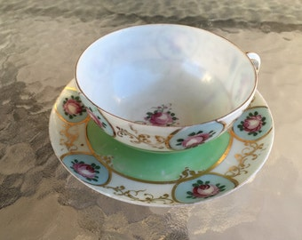 Tea cup and saucer Art Deco jadite green vintage bone china with pink rosebuds