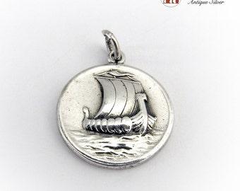 Designer Scandinavian Vikings' Ferry Pendant Sterling Silver 925 Vintage 1980s by George Jensen