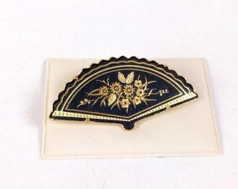 Spanish Damascene 24K Fan Pin, Gold Black Brooch, Etched Flowers, Toledoware
