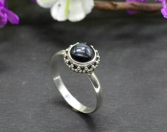Natural Black Onyx Round Gemstone Ring 925 Sterling Silver R60