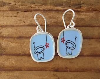 Sky Blue Astronaut Earrings - Alien Earrings in Sterling Silver and Vitreous Enamel