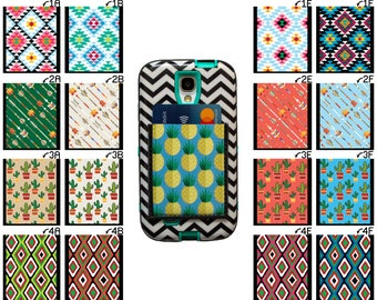 Phone Pocket / Stick On Wallet Adhesive Card Case Student ID Business Card Holder / Aztec Arrows Cactus Cacti Southwestern African Print