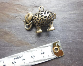 3D elephant pendant, bronze, for jewelry making