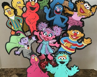"Sesame Street characters your choice of FOUR- 8""inches height for your birthday decoration, centerpieces or favor bags additio"