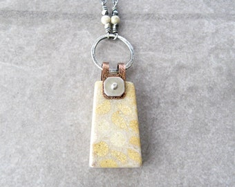 fossilized coral necklace, metalwork jewelry, tan coral pendant, sterling chain, minimalist necklace