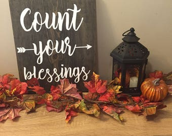 COUNT YOUR BLESSINGS Handmade Wood Sign