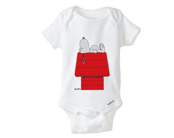 Sleeping Snoopy on House Embroidered baby onesie onepiece