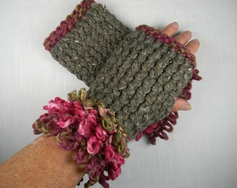 Hand Knit Wrist Warmers with Loopy Cuff
