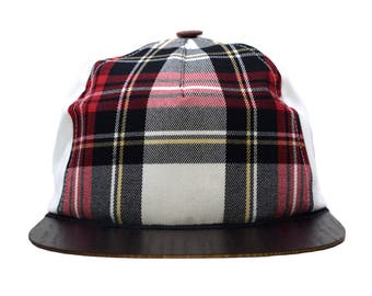 6 Panel hat Snapback plaid-white with wooden brim | Sun hat Baseball Cap Limited Edition | Eco friendly | Handmade in Germany Lou-i
