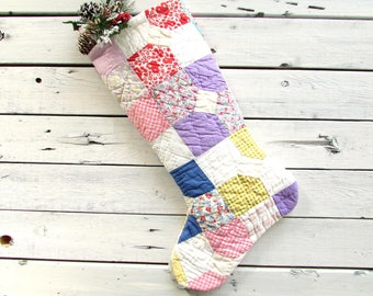 Quilted christmas stocking,  Primitive christmas stocking, Rustic christmas stocking, sewn from a vintage quilt, Quilted christmas stockings