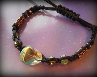 Green Aura Beads Swarovsky Crystal and Copper Beads Black Macrame Bracelet - The Wanderer - macrame black bracelet, macrame bracelet
