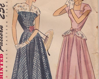 Simplicity 2357, 1940s One Piece Dress with Detachable Peplum Vintage Sewing Pattern, Flared Skirt, Square Neck, Size 14 Bust 32 CUT