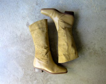 Vintage Tan Leather Boots 80s Tall Light Brown Suede Boots TOOLED Leather Fall Boho Hipster Cowgirl Equestrian Riding Boots Womens size 6