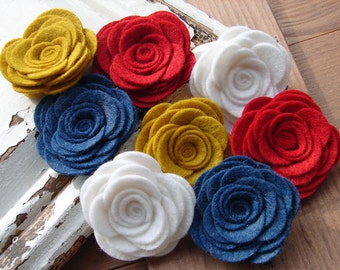 Original Wool Felt Flowers Large Posies in the Americana Collection - Felt Flowers