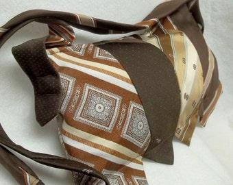 Upcycled brown Silk tie purse,brown silk tie purse,brown tie purses,silk ties,silk tie purse,tie purse,brown ties,brown silk ties,brown