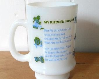 MEMORIAL DAY SALE vintage milk glass prayer mug