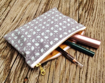 Zipper Pouch, Coin Purse, Makeup Bag, Screen Printed, Gift for Her