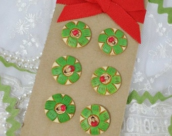 Vintage flower wooden Buttons - 6 pc