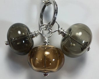 Trio of Hollow Beads, Jewels bubble necklace, silver plated