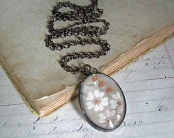 Vintage Hanky Flocked Flower Bubble Necklace Soldered Glass Statement Jewelry