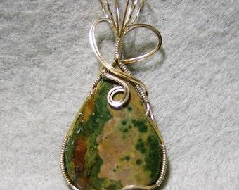 Ocean Jasper Pendant - Handmade Unbelievably Gorgeous Ocean Jasper in 14k Gold Filled Wire by JewelryArtistry - P747