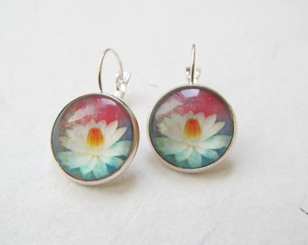 Lotus earrings, yoga earrings, lotus jewelry