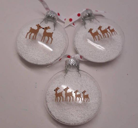 Hand Painted Reindeer Family Ornament Personalize with family name(s) and date