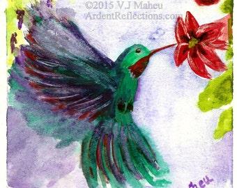 Wall Art, 8 x 10 Art, Art Print, Hummingbird,  Watercolor Art, Bird Art, Wildlife Art, Animal Art, Bird Print, Item #HBFP-2015