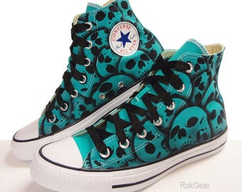 Womens US Size 8 Skull Converse hand painted by RokGear - Sale priced ready to ship