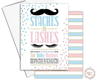 Staches or lashes gender reveal party ideas, baby reveal invitations, pink or blue gender reveal invites, he or she - WLP00858