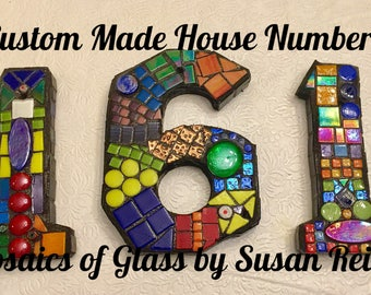 Mosaic House Numbers- address, mosaic, numbers, stained glass, personalized sign, house plaque, address numbers