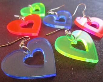 Big 80s Heart Earrings, Cutout 80s Neon - Pink, Green & Blue Dangle Heart Rave Earrings