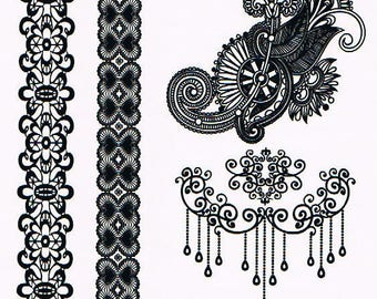 Temporary tattoos Black Lace YHB004 21 X 14.5 CM