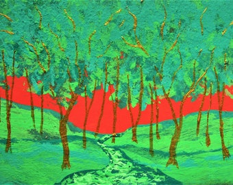 """Twilight Woods #257 (ARTIST TRADING CARDS) 2.5"""" x 3.5"""" by Mike Kraus - green red stocking stuffer gift present trees forest woods nature fun"""