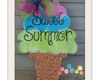 Sweet Summer Ice Cream Cone Door Hanger