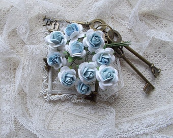 Scrapbooking Embellishment, Mulberry Paper flowers for scrapbooking and card making, White with a Blue Center