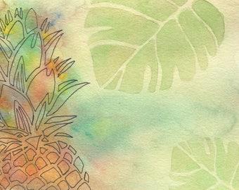Blank postcard, pineapple, been